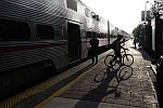 CalTrain and Cyclist Early Morning Silhouette