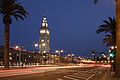 San Francisco Embarcadero at night with traffic