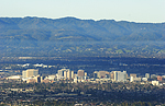 San Jose city downtown, Silicon Valley, 2005 with coastal range and foothills
