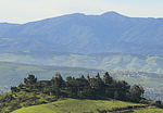 Carmelite Monastery, San Jose, California, with coastal mountain range